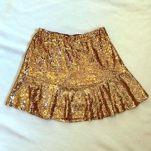XHILIRATION Gold Sequin Fit n Flare Mini Skirt